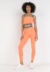 Born2be - Pomarańczowy 2-Częściowy Komplet Sportowy Glyssha. Kolor: pomarańczowy. Wzór: aplikacja, nadruk