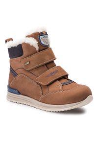 Brązowe buty zimowe Lasocki Kids z cholewką, z cholewką przed kolano