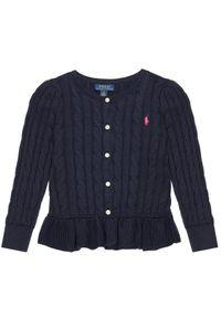 Polo Ralph Lauren Sweter Peplum Cardi 313737911005 Granatowy Regular Fit. Typ kołnierza: polo. Kolor: niebieski