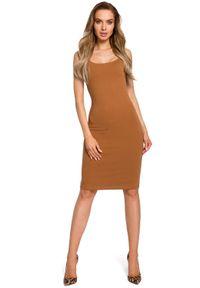 MOE - Ołówkowa Sukienka na Ramiączkach - Kamelowa. Materiał: bawełna, elastan. Długość rękawa: na ramiączkach. Typ sukienki: ołówkowe