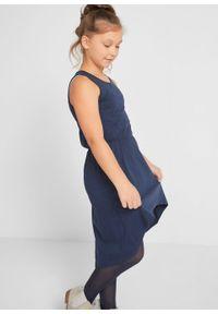 T-shirt dziewczęcy + sukienka (2 części), bawełna organiczna bonprix ciemnoniebiesko-biały. Kolor: niebieski. Materiał: bawełna. Wzór: aplikacja