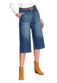 Niebieskie spodnie TOP SECRET na wiosnę, z aplikacjami, klasyczne