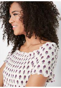 Sukienka midi w deseń paisley bonprix biel wełny z nadrukiem. Kolor: biały. Materiał: wełna. Wzór: paisley, nadruk. Styl: boho. Długość: maxi, midi
