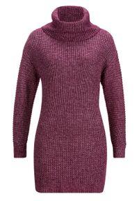 Fioletowy sweter bonprix melanż, z golfem