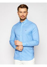TOMMY HILFIGER - Tommy Hilfiger Koszula Flex Fake Solid MW0MW17575 Niebieski Slim Fit. Kolor: niebieski