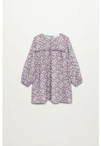 Fioletowa sukienka Mango Kids mini, prosta, casualowa