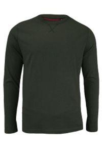 Ciemnozielony T-shirt (Koszulka) - Długi Rękaw, Longsleeve - Brave Soul, Męski. Okazja: na co dzień. Kolor: zielony. Materiał: bawełna. Długość rękawa: długi rękaw. Długość: długie. Styl: casual