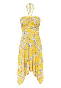 Sukienka z dekoltem halter bonprix żółto-biel wełny w kwiaty. Typ kołnierza: dekolt halter. Kolor: żółty. Materiał: wełna. Długość rękawa: na ramiączkach. Wzór: kwiaty