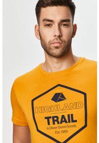 Żółty t-shirt s.Oliver casualowy, z nadrukiem, na co dzień