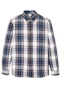Koszula z długim rękawem z letniego materiału bonprix ciemnoniebiesko-biel wełny w kratę. Kolor: niebieski. Materiał: materiał, wełna. Długość rękawa: długi rękaw. Długość: długie. Sezon: lato