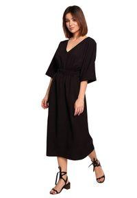 BE - Swobodna sukienka midi z szeroką gumą w pasie czarna. Okazja: na co dzień. Kolor: czarny. Materiał: guma. Sezon: lato, wiosna. Typ sukienki: proste. Styl: boho, casual. Długość: midi