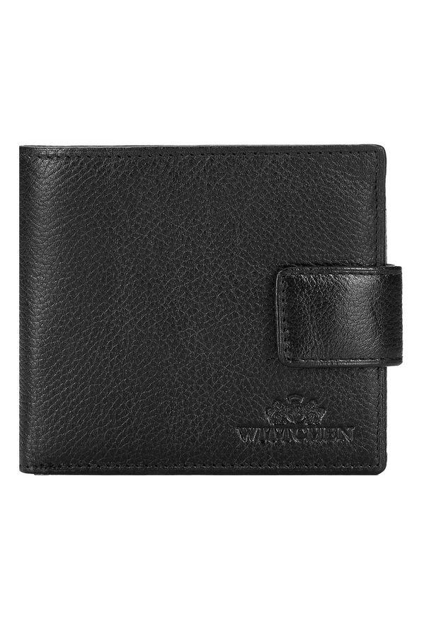Wittchen - Męski portfel skórzany z zapięciem na napę. Kolor: czarny. Materiał: skóra