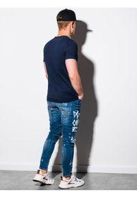 Ombre Clothing - T-shirt męski bawełniany basic S1370 - granatowy - XXL. Kolor: niebieski. Materiał: bawełna. Styl: klasyczny