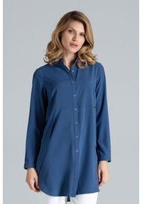Figl - Granatowa Koszula -Tunika Zapinana Na Zatrzaski. Kolor: niebieski