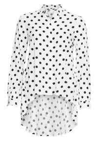Biała bluzka bonprix w kropki, długa