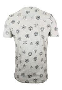 Szary T-Shirt (Koszulka) z Kieszonką -Brave Soul- Męski, Figury Geometryczne, Bryły. Okazja: na co dzień. Kolor: szary. Materiał: bawełna, poliester. Wzór: geometria. Styl: casual