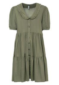 Sukienka z zaokrąglonym kołnierzykiem, z przyjaznej dla środowiska wiskozy bonprix oliwkowy. Kolor: zielony. Materiał: wiskoza. Długość: mini
