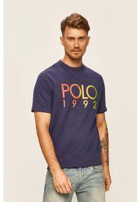 Niebieski t-shirt Polo Ralph Lauren z okrągłym kołnierzem, z nadrukiem, na co dzień