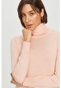 Różowy sweter Answear Lab z długim rękawem, z golfem, długi