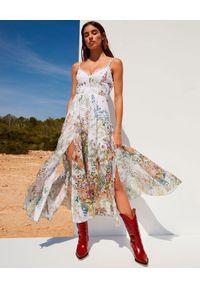 CHARO RUIZ IBIZA - Sukienka z rozcięciami Debbie. Kolor: biały. Długość rękawa: na ramiączkach. Wzór: kwiaty, aplikacja, geometria, nadruk. Długość: maxi