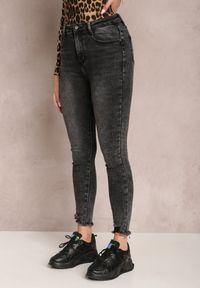 Renee - Czarne Jeansy Skinny Hystinore. Stan: podwyższony. Kolor: czarny. Wzór: aplikacja. Styl: elegancki