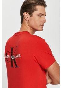 Czerwony t-shirt Calvin Klein Jeans casualowy, na co dzień