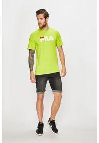 Fila - T-shirt. Okazja: na co dzień. Kolor: zielony. Materiał: dzianina. Wzór: nadruk. Styl: casual