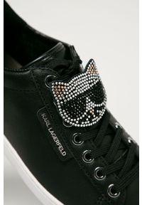 Czarne buty sportowe Karl Lagerfeld z okrągłym noskiem, na obcasie, na średnim obcasie