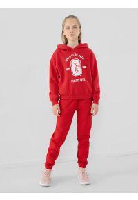 4f - Spodnie dresowe joggery dziewczęce. Kolor: czerwony. Materiał: dresówka