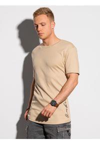 Ombre Clothing - T-shirt męski bawełniany z nadrukiem S1387 - beżowy - XXL. Kolor: beżowy. Materiał: bawełna. Wzór: nadruk