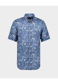PAUL & SHARK - Lniana koszula z nadrukiem. Typ kołnierza: button down. Kolor: biały. Materiał: len. Wzór: nadruk. Sezon: lato. Styl: klasyczny