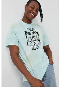 HUF - T-shirt bawełniany. Okazja: na co dzień. Kolor: niebieski. Materiał: bawełna. Wzór: nadruk. Styl: casual