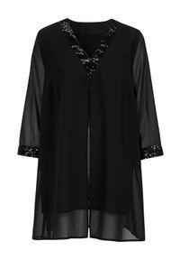 Czarna tunika Cellbes z dekoltem w serek, elegancka
