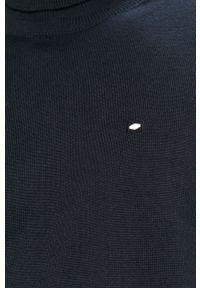 Niebieski sweter Cross Jeans casualowy, z golfem, na co dzień, z aplikacjami