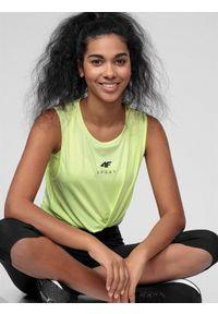 Żółty top sportowy 4f na fitness i siłownię, bez rękawów