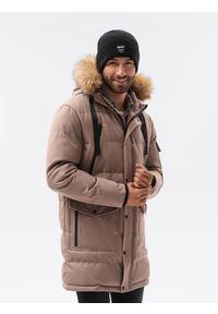 Ombre Clothing - Kurtka męska zimowa C514 - brązowa - XXL. Kolor: brązowy. Materiał: poliester. Sezon: zima