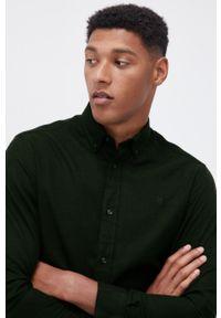 Premium by Jack&Jones - Koszula bawełniana. Typ kołnierza: button down. Kolor: zielony. Materiał: bawełna. Długość rękawa: długi rękaw. Długość: długie. Wzór: gładki