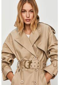 Beżowy płaszcz Patrizia Pepe klasyczny, bez kaptura