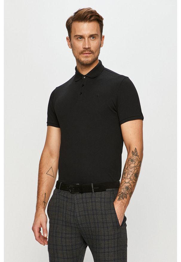 Czarna koszulka polo Trussardi Jeans klasyczna, polo, krótka