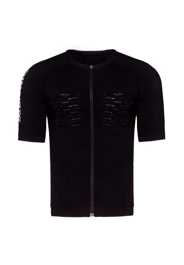 Czarna koszulka termoaktywna X-Bionic z krótkim rękawem, z asymetrycznym kołnierzem, rowerowa