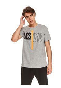TOP SECRET - T-shirt z nadrukiem. Okazja: na co dzień. Kolor: szary. Materiał: bawełna, tkanina. Długość rękawa: krótki rękaw. Długość: krótkie. Wzór: nadruk. Sezon: jesień. Styl: casual