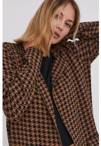 Answear Lab - Płaszcz z domieszką wełny. Okazja: na co dzień. Kolor: brązowy. Materiał: wełna. Styl: wakacyjny