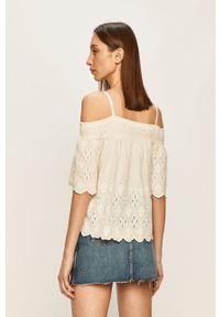Biała bluzka Pepe Jeans na ramiączkach, casualowa, na co dzień, w koronkowe wzory