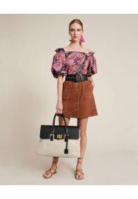 Luisa Spagnoli - LUISA SPAGNOLI - Zamszowa spódnica mini Tisana. Okazja: na co dzień. Kolor: brązowy. Materiał: zamsz. Styl: casual