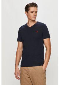 Polo Ralph Lauren - T-shirt. Typ kołnierza: polo. Kolor: niebieski. Materiał: dzianina. Wzór: aplikacja