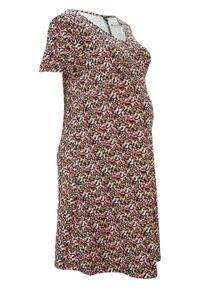 Sukienka ciążowa z bawełny organicznej bonprix czarno-jasnoróżowy w kwiaty. Kolekcja: moda ciążowa. Kolor: czarny. Materiał: bawełna. Wzór: kwiaty. Sezon: lato