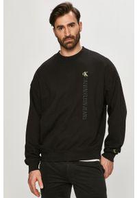 Czarna bluza nierozpinana Calvin Klein Jeans na co dzień, z aplikacjami