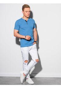 Ombre Clothing - T-shirt męski bez nadruku S1390 - niebieski - XXL. Typ kołnierza: polo. Kolor: niebieski. Materiał: bawełna, jeans, poliester