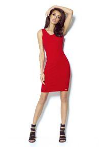 Czerwona sukienka wizytowa IVON z dekoltem na plecach, ołówkowa