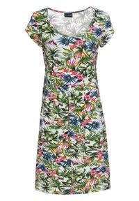 Sukienka bonprix ecru z kolorowym nadrukiem. Kolor: biały. Długość rękawa: krótki rękaw. Wzór: kolorowy, nadruk